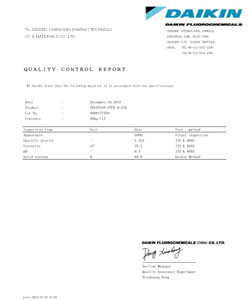certificates of ptfe glass cloth